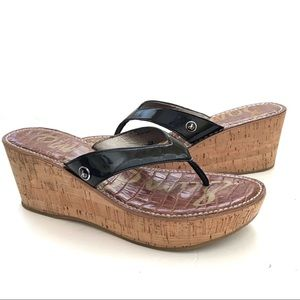 Black Sam Edelman Cork wedge tong sandal